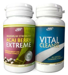 Maximum Strength Acai Berry Extreme / Vital Cleanse   With Green Tea Extract   Intense Fat Burning Weight Loss Diet Pill Combination: Health & Personal Care
