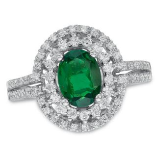 Oval Lab Created Emerald and White Sapphire Frame Ring in Sterling