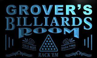 pj540 b Grover's Billiards Room Rack 'em Bar Beer Neon Light Sign