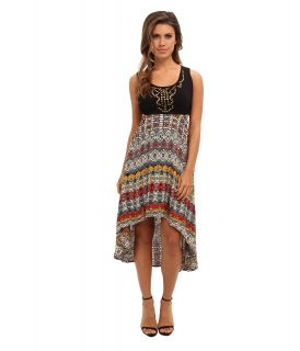 Angie High Low Print Dress Womens Dress (Black)