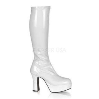 4 inch Heel Platform GOGO Boot White Str Patent: Shoes