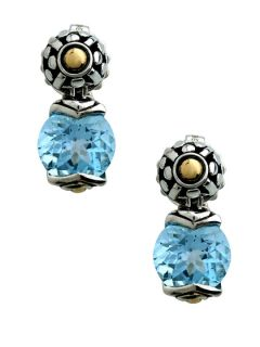 Batu Sari Blue Topaz Round Drop Earrings by John Hardy