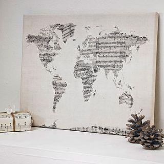 sheet music world map art print by artpause