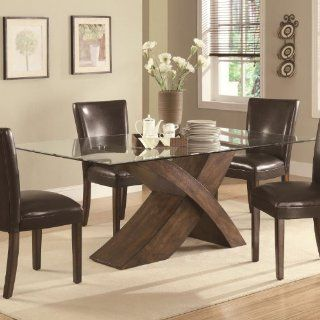 103051 Nessa Large Scaled X Base Dining Table with Glass Top by Coaster: Furniture & Decor