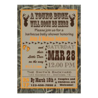 Orange Camo Hunting Baby Shower Invitations