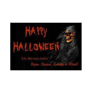 Scary Hairy Skull Happy Halloween Yard Sign