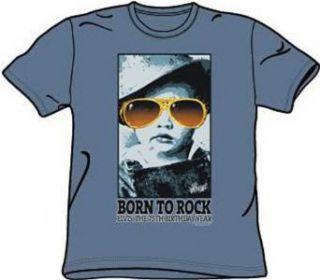 Elvis Presley Shirt   Born to Rock 75 Years Adult Slate Blue Tee Clothing