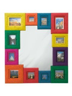 """Multi Color Wall Mirror 40"""" x 36"""" with Picture Frame   Wall Mounted Mirrors"""