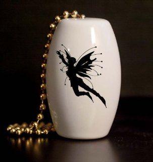 Flying Fairy Silhouette Porcelain Fan / Light Pull   Ceiling Fan Pull Chain Ornaments