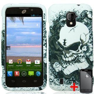 ZTE MAJESTY Z796C SOURCE N9511 WHITE BLACK EVIL SCARY SKULL COVER SNAP ON HARD CASE + FREE SCREEN PROTECTOR from [ACCESSORY ARENA]: Cell Phones & Accessories
