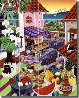 "Tropical Fruit Ceramic Tile Mural Backsplash 17"" x 21.25""   El Mercado by Raul del Rio   Kitchen Shower Decor"
