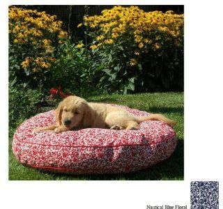 Snoozer Pet Dog Cat Outdoor Pool and Patio Round Soft Sleeping Rest Bed Nautical Blue Floral Large
