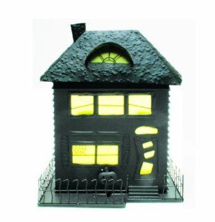 Tag Halloween Metal Spooky House Tealight Candle Holder, Rustic Finish, 12 Inches Tall x 10.625 Inches x 9 Inches   Tea Light Holders