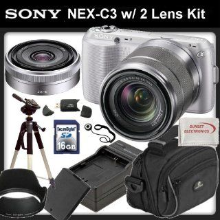 Sony Alpha NEX C3 Digital Camera (Silver) with 18 55mm Lens & Sony SEL16F28 16mm f/2.8 Wide Angle Lens + SSE Professional Package. Includes: 16GB SDHC Memory Card, Additional Replacement FW50 Battery Pack, Rapid Travel Charger, Pro Tripod, Soft Carryin
