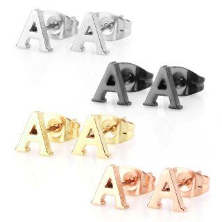 Assorted Colors Stainless Steel Alphabet Letter Initial Stud Earrings, Yellow Gold, Rose Gold, Black Plated, Hypoallergenic (Letter A x 4 Pairs): Jewelry
