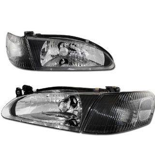 1998   2000 Toyota Corolla Black Housing Clear Lens Headlight + Corner Light: Automotive