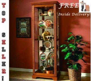 Golden Oak III Two Way Sliding Door Curio   Curio Cabinets