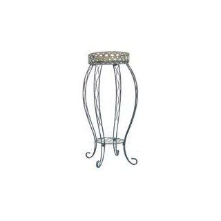 Austram 28061103 28 Inch Antique Green Round Queen Anne Plant Stand : Patio, Lawn & Garden