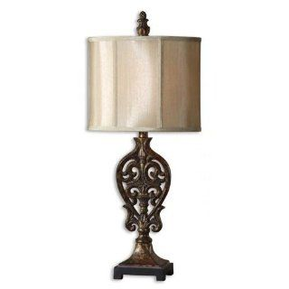 Small Buffet Lamp with Distressed Finish   Table Lamps
