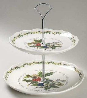 Portmeirion Holly And The Ivy, The 2 Tier Serving Tray, Fine China Dinnerware