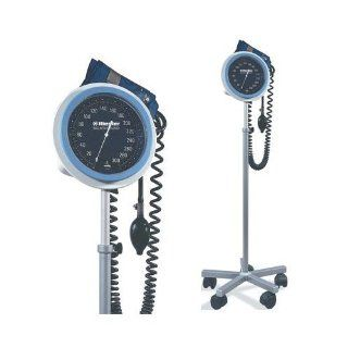 """Professional Blood Pressure Monitor large, easy to read, 6"""" (15cm) faceplate with white numerals on solid background. Molded casing encloses a nonstop pin, 300 mmHg gauge. LIFETIME calibration warranty +/  3 mmHg. 6 foot coiled tubing. Deluxe air rele"""