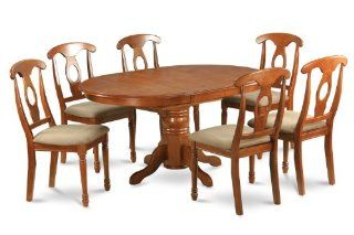 Avon 5PC Oval Dinette Dining Set with 4 Padded Chairs, Brown Finish   Dining Room Furniture Sets