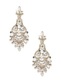 White Opal Crystal Chandelier Earrings by Elizabeth Cole