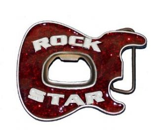 Rock Star Glitter Guitar Beer Bottle Opener Belt Buckle SALE: Clothing