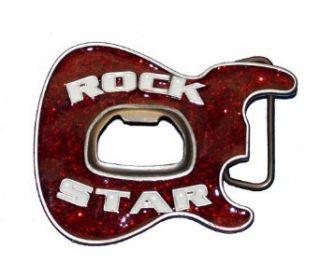 Rock Star Glitter Guitar Beer Bottle Opener Belt Buckle SALE: Clothing