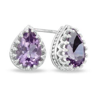 Pear Shaped Amethyst Crown Earrings in Sterling Silver   Zales