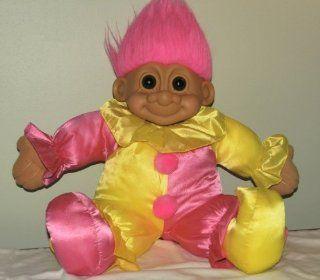 "Russ Lucky GIANT 23"" CLOWN Plush Troll Doll (Pink Yellow 23x24x7) Toys & Games"