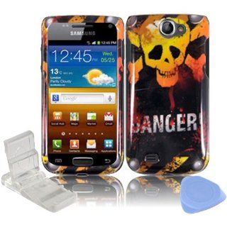 Black Yellow Skull Danger Design Snap on Hard Plastic Cover Faceplate Case for Samsung Exhibit 2 II 4G T679 + Screen Protector Film + Mini Adjustable Phone Stand: Cell Phones & Accessories