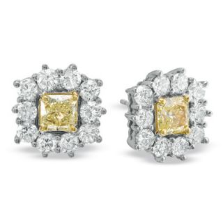 CT. T.W. Radiant Cut Fancy Yellow and White Diamond Frame Earrings