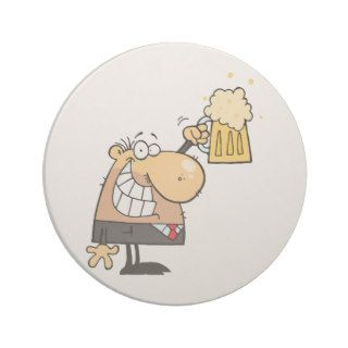 happy man cartoon celebrating with beer coaster