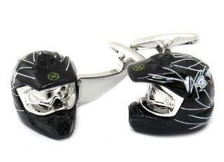 Motorcycle Motocross Helmet Cufflinks Cuff Links Jewelry