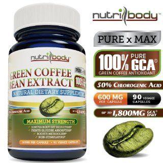 nutribody Green Coffee Bean Extract   100% PURE GCA� (Green Coffee Antioxidant), Standardized 50% Chlorogenic Acid, 600 mg GCA� Per Capsule, 90 Vegetarian Capsules, 30 Days Supply of 1800 mg GCA�, Maximum Strength Natural Weight Loss Supplement, Fat Burner