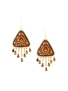 Tigers Eye Triangle Drop Earrings by Miguel Ases