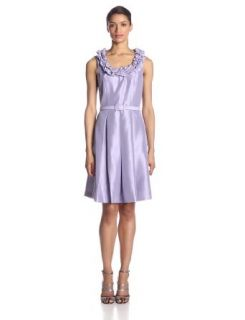 Jessica Howard Women's Sleeveless Ruffle Puff Neckline Dress at  Women�s Clothing store: