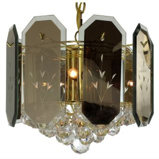 6 light Reflex Panels/ Gems Polished Brass Chandelier