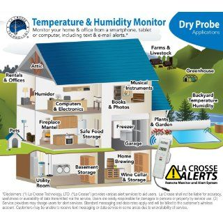 La Crosse Alerts D011.101.E1.WGB Wireless Monitor Add On Sensor Only with Dry Probe for existing La Crosse Alerts system   Add On Temperature And Humidity Sensor