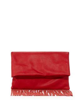 Fringe Fold Over Faux Leather Clutch Bag, Red   Urban Originals