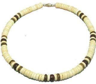 "Native Treasure   Coco Bead Necklace Blond Coco 3 Dark Puka Shell Surfer Hawaiian Choker Surfer Puca Beads Pooka   8mm (5/16"")   18"" Inch"
