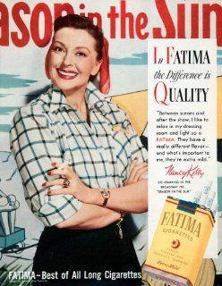 1951 Ad Fatima Cigarettes Liggett Myers Tobacco Nancy Kelly Actress Broadway   Original Print Ad