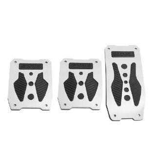 Silver Tone Black Metal Nonslip Car Gas Clutch Brake Pedal Pad Covers 3 Pcs Automotive