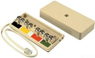 Allen Tel Products AT742A 4 Ports, Mounting Screw, Equipped With 6 Position, 4 Conductor, 1 Foot Modular Cord Wire Junction Box, Ivory   Electrical Boxes
