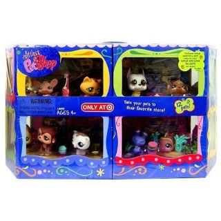 Littlest Pet Shop Exclusive Carry Case with 12 Pet Figures 4 Different Sets   Cuddliest Set : Cat (#747), Cocker Spaniel (#748), Ferret (#749); Sportiest Set: Great Dane (#750), Green Gecko (#751), Purple Hermit Crab (#752); Fanciest Set : German Shepard (