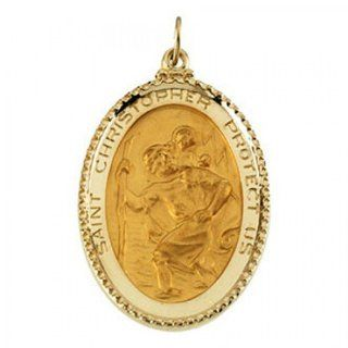 Saint Christopher Pendant in 14kt Yellow Gold   Lovable   Unisex Adult: GEMaffair Jewelry
