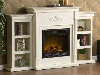 Shop Tennyson Electric Fireplace w/ Bookcases Ivory at the  Home D�cor Store