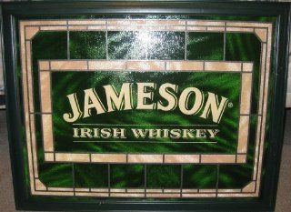 Jameson Irish Whiskey Framed Green Stained Glass Sign 3 1/2' x 3'  Other Products