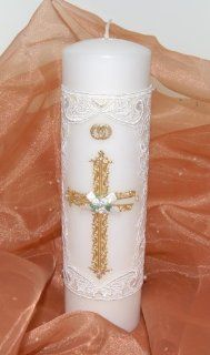 Wedding Unity Candle ~ White with Gold Cross : Everything Else